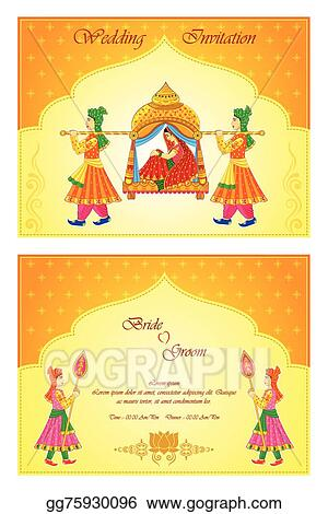 Vector Illustration Indian Wedding Invitation Card Eps