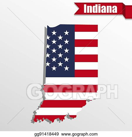EPS Vector - Indiana state map with us flag inside and ribbon. Stock on new mexico map usa, virginia map usa, oregon map usa, indiana road map of usa, akron map usa, indiana on map, united states political map usa, indiana city usa, tulsa map usa, oklahoma map usa, michigan map usa, montana map usa, yale map usa, columbia map usa, kentucky map usa, minnesota map usa, show map of indiana usa, iowa map usa, mississippi map usa, evansville map usa,