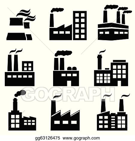 vector art industrial building factory and power plants eps rh gograph com factory clipart images factory clipart gif