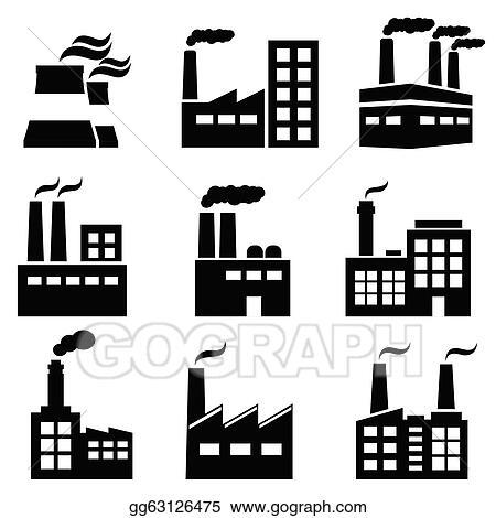 vector art industrial building factory and power plants eps rh gograph com factory clipart blue factory clipart images
