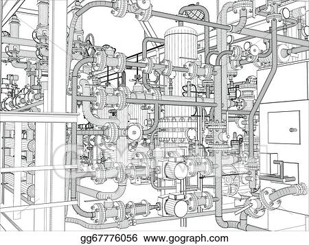 Vector Art - Industrial equipment. wire-frame render. Clipart ...
