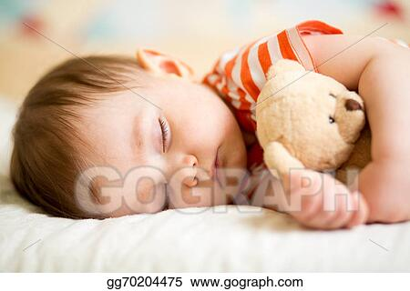 c9f1be83d Stock Photography - Infant baby sleeping with plush toy. Stock Photo ...