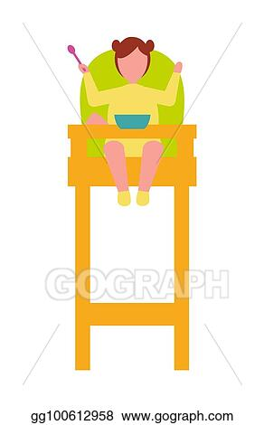 Peachy Vector Stock Infant Child Sit In High Chair With Spoon In Gmtry Best Dining Table And Chair Ideas Images Gmtryco