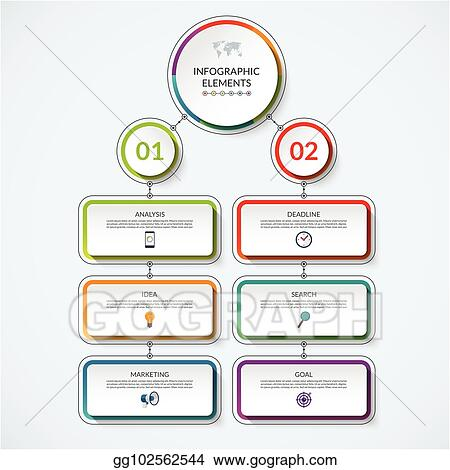 Infographic Flow Chart Template With 2 Option Circles And 6 Tabs