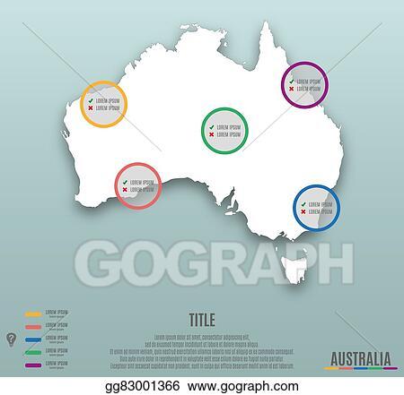 Australia Map Template.Vector Clipart Infographic Template Slide Of Australia Map Vector