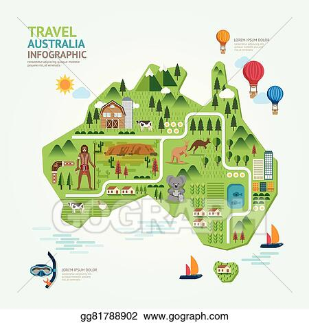 Clip Art Vector - Infographic travel and landmark australia