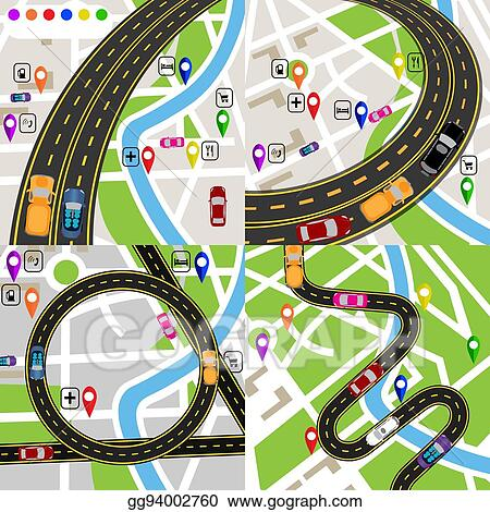 Vector Art - Infographics  a set of stylized road plans