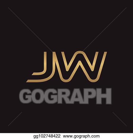 Clip Art Vector Initial Letter Logo Line Unique Modern Gold Color