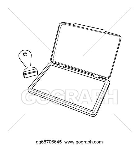 vector art ink pad with rubber stamp outline clipart drawing