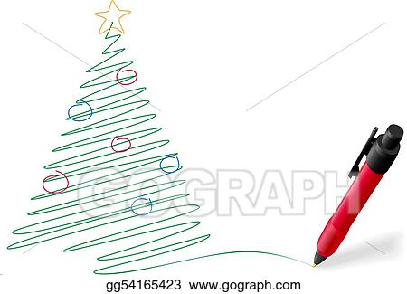 Eps Illustration Ink Pen Drawing Writing Merry Christmas Tree