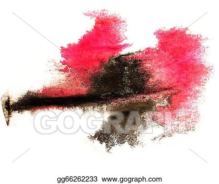 Stock Illustration - Ink red, black watercolor paint