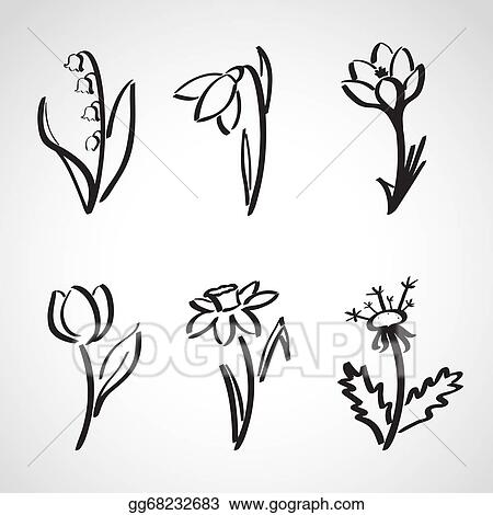 Vector Art Ink Style Sketch Set Spring Flowers Clipart Drawing