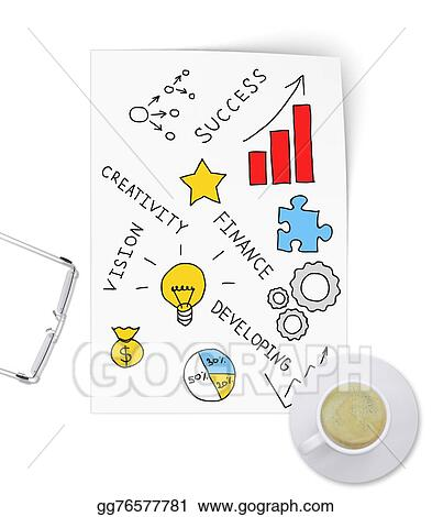 Drawing Innovative Ideas For Business Project On Sheet Of Paper