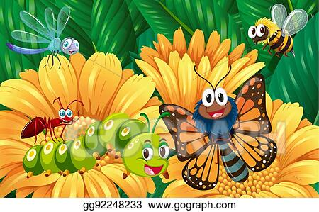 vector illustration insects in the flower garden stock clip art gg92248233 gograph gograph