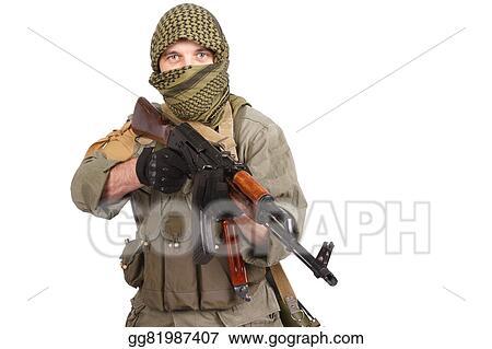 Stock Photos - Insurgent wearing keffiyeh with ak 47 gun