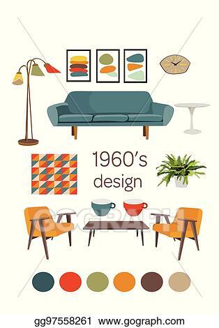 Vector Illustration - Interior design 1960. mid century modern ...