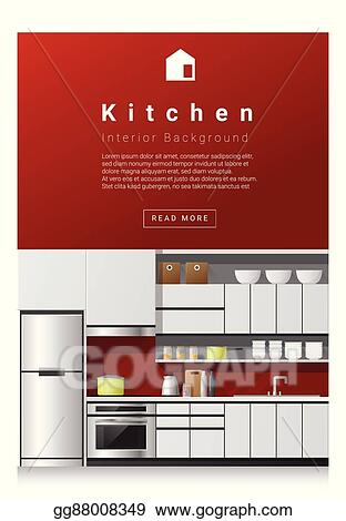 Vector Stock Interior Design Modern Kitchen Banner 1 Clipart