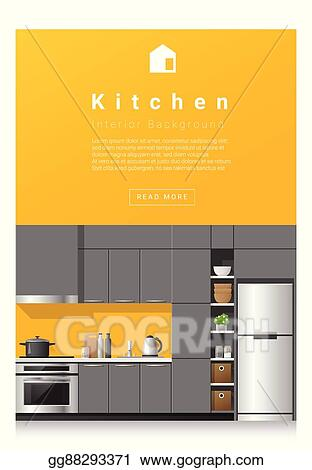 Vector Stock Interior Design Modern Kitchen Banner 5 Stock Clip