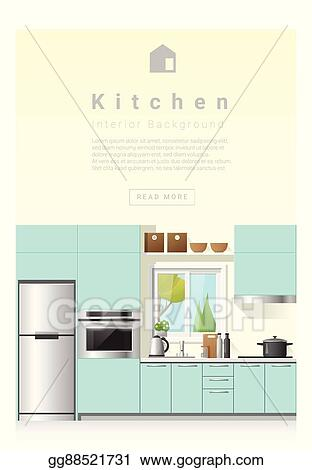 Vector Clipart Interior Design Modern Kitchen Banner 6 Vector