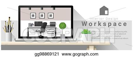 Vector Stock Interior Design Of Modern Office Workplace 4 Stock