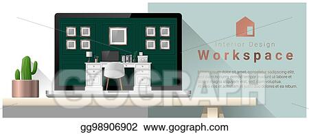 Vector Illustration Interior Design Of Modern Office Workplace 8