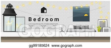 Vector Art Interior Design With Table Top And Modern Bedroom