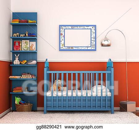Stock Illustrations Interior Is Modern Childrens Room With Bright