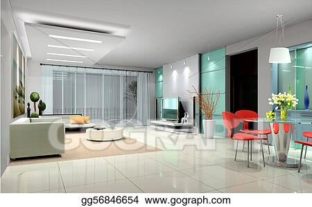 Drawing - Interior living-room. Clipart Drawing gg56846654 - GoGraph