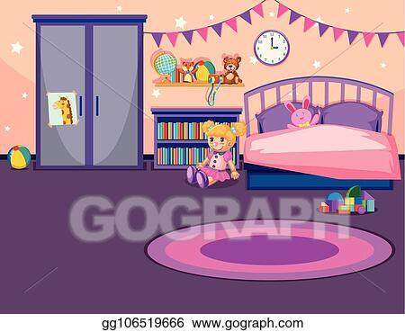 Vector Clipart Interior Of A Girls Bedroom Vector Illustration