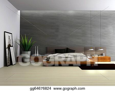 Stock Illustration - Interior of modern bedroom 3d rendering ...