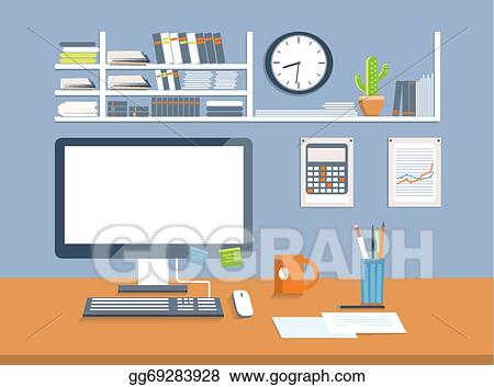 Vector Stock - Interior office room.flat design style. Clipart ...