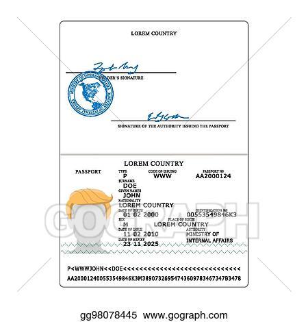 EPS Vector - International passport vector. opened passport page ...