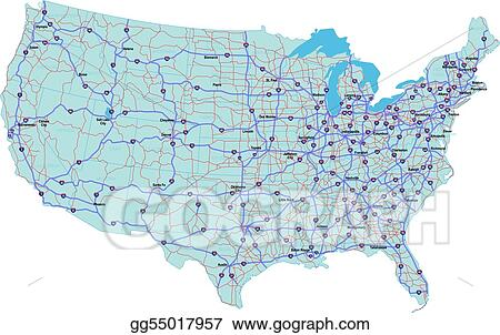 Vector Art - interstate map of the united states. Clipart ...