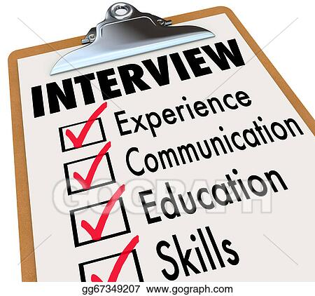 Stock Illustration Interview Checklist Job Candidate