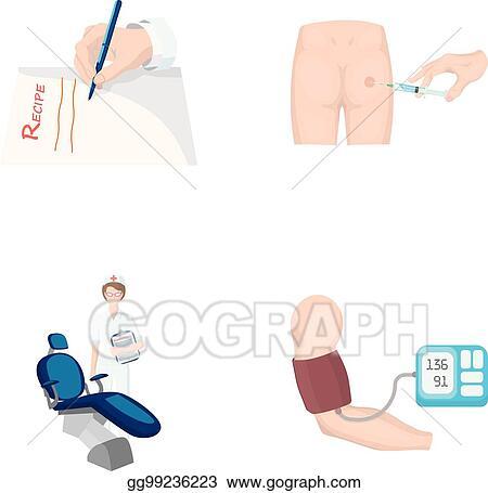 Vector Stock - Intramuscular injection, prescription, dentist, blood