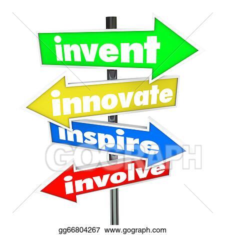 Clip Art Invent Innovate Inspire Involve Road Arrow Signs Stock