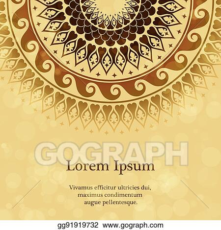 Clip Art Vector Invitation Card With Arabesque Decor
