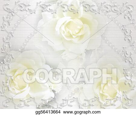 Illustrations Commerciales Invitation Mariage Fond Roses