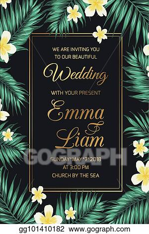 Vector Art Invitation Template Tropical Leaves Frangipani Eps Clipart Gg101410182 Gograph Printable tropical wedding invitation diy printable wedding | etsy. https www gograph com clipart license summary gg101410182