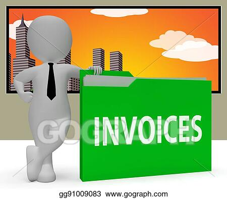 Stock Illustration Invoices Folder Indicating Due Bills 3d
