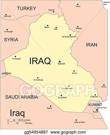 Vector Clipart - Iraq, major cities and capita and surrounding ...