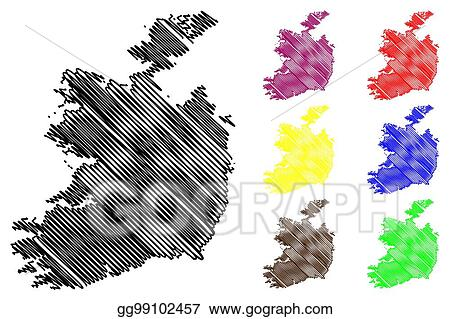 Sketch Map Of Ireland.Eps Vector Ireland Map Vector Stock Clipart Illustration