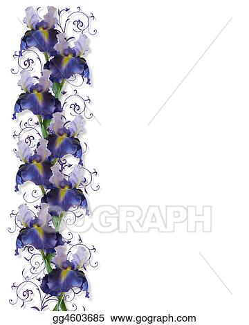 Drawing iris border wedding invitation clipart drawing drawing illustration composition of watercolor iris flowers for card invitation or template with copy space clipart drawing gg4603685 pronofoot35fo Choice Image