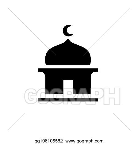 Vector Art Islamic Masjid Silhouette Simple Black Mosque