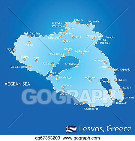 Vector Clipart - Island of lesvos in greece map. Vector Illustration ...