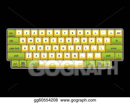 Vector Art Isoated Computer Keyboard Layout Realistic Illustration Clipart Drawing Gg60554208 Gograph