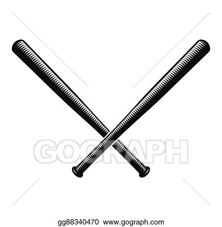 Vector Clipart Isolated Abstract Black Color Crossed Baseball Bats