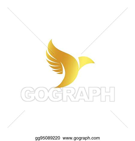 Vector Clipart Isolated Abstract Gold Color Birds Silhouettes Logo