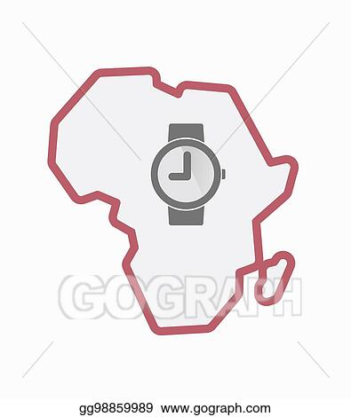 Vector Art - Isolated africa map with a wrist watch  Clipart Drawing