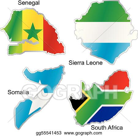 Map Of Africa With Flags.Eps Vector Isolated African Flags In Map Shape Stock Clipart